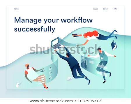 Workflow Landung Seite Vorlage Business Prozess Stock foto © RAStudio