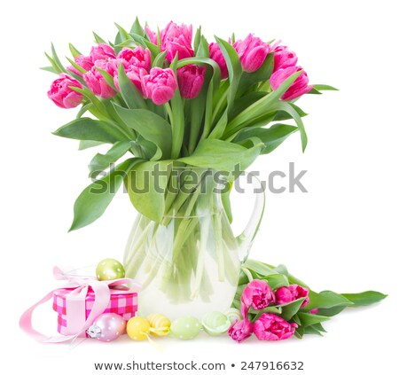Stockfoto: Glass vase with fresh flowers tulips and Easter eggs isolated on white background. Vector cartoon cl