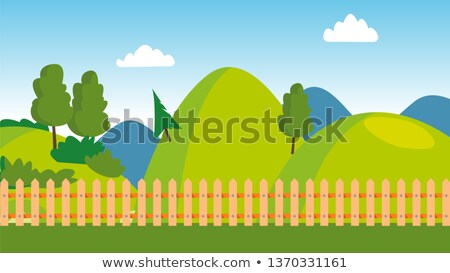 Backyard, Wooden Fence, Cartoon Lawn Vector Panorama Сток-фото © pikepicture