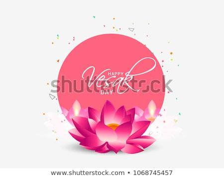 happy vesak day banner of lotus flower and buddha stock photo © cienpies