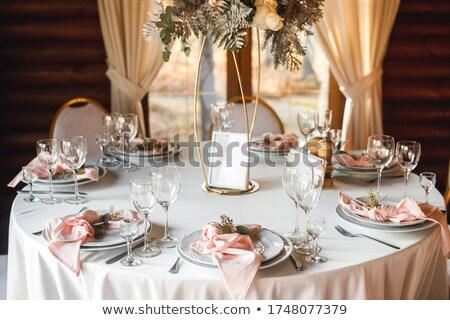 белый пусто пластин Бокалы деревянный стол Сток-фото © amok
