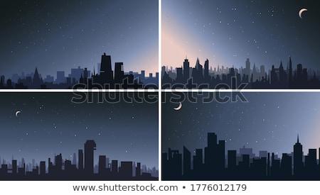 Conjunto cena noturna ilustração céu natureza projeto Foto stock © bluering