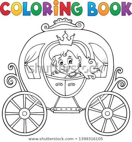coloring book princess carriage theme 1 stock photo © clairev