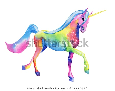 Pink unicorn isolated on white background. Drawing with watercolor Stock photo © Arkadivna