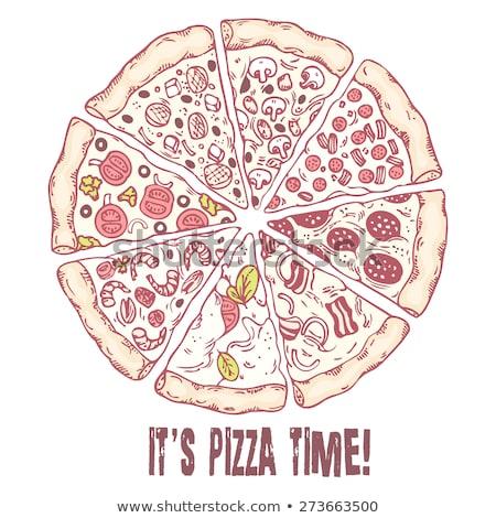 Foto stock: Cor · vegetariano · italiano · fatia · pizza · monocromático