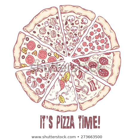 vejetaryen · İtalyan · dilim · pizza · tek · renkli · vektör - stok fotoğraf © pikepicture
