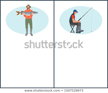 Man with Pike and Fisher Guy on Chair Poster Stock photo © robuart