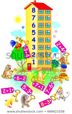 counting and adding game with cartoon animals Stock photo © izakowski