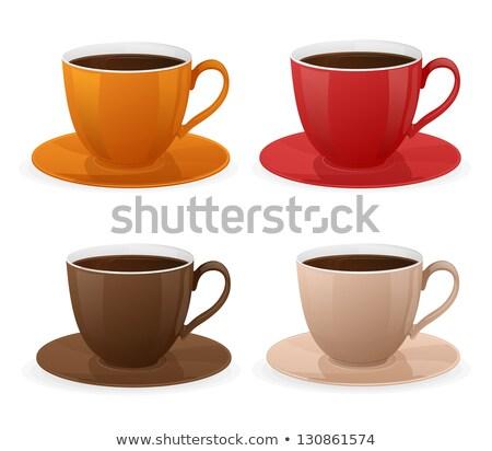 Zwarte koffie mok koffieboon icon geïsoleerd beige Stockfoto © cidepix