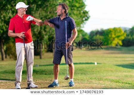golf · donna · palla · uomo · bandiera · giocatore - foto d'archivio © lichtmeister