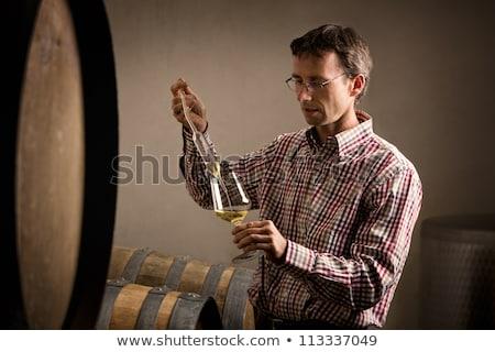 Vintner taking sample of white wine in cellar. Stock photo © lichtmeister