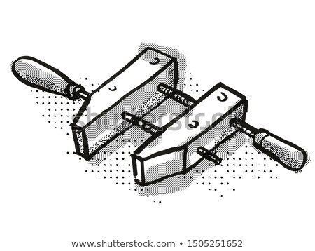 wooden screw clamp woodworking hand tool cartoon retro drawing stock photo © patrimonio
