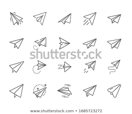 Düzlem kâğıt roket ikon gökyüzü Stok fotoğraf © bspsupanut