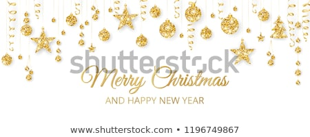 Gold Christmas trees, golden letters, vector Stock photo © beaubelle