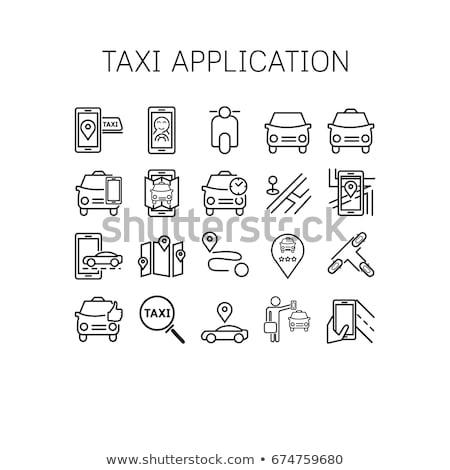 онлайн такси икона вектора тонкий линия Сток-фото © pikepicture