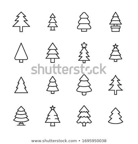 Kerstboom silhouet vakantie lineair iconen wenskaart Stockfoto © barsrsind