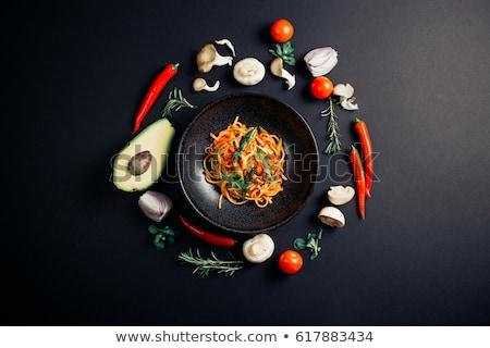 Macarrão carne fresco abacate bio orgânico Foto stock © Peteer