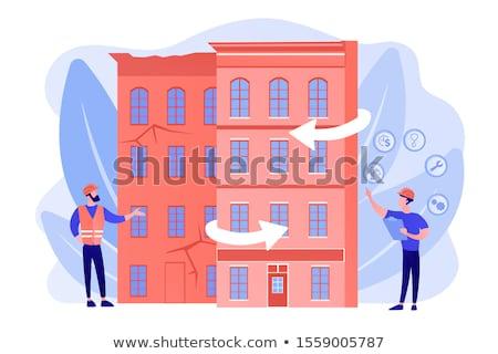 Oude gebouwen woon- huis wederopbouw stad Stockfoto © RAStudio