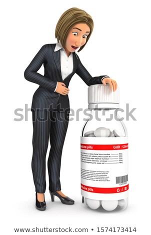 3D ビジネス女性 腹痛 実例 孤立した 白 ストックフォト © 3dmask