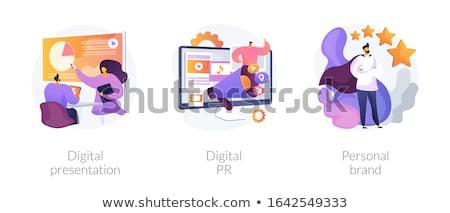 Интернет маркетинг pr вектора Метафоры цифровой реклама Сток-фото © RAStudio