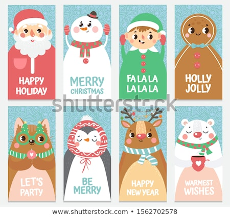 Merry Christmas Greeting Cards Set with Elves Stock photo © robuart
