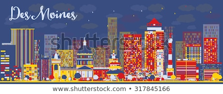Abstract Des Moines Skyline with color Buildings. Stock photo © ShustrikS
