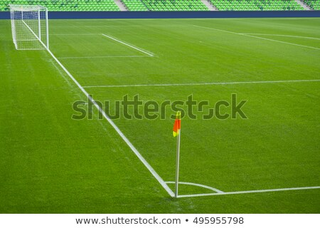 Football field corner with white marks and flag Stock photo © boggy