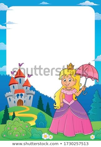 Prinses paraplu frame meisje gelukkig kunst Stockfoto © clairev