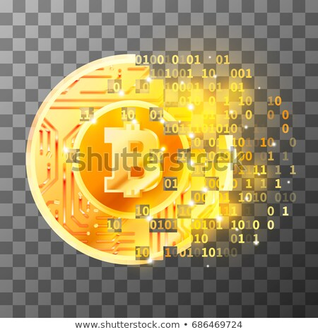 Process of creation of bright coin with microchip pattern and Bitcoin sign on blue matrix code. Cryp Stock photo © evgeny89
