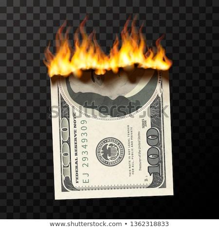 Valósághű égő egy száz USA dollár Stock fotó © evgeny89