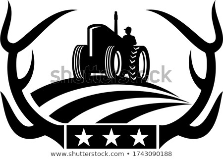 鹿 枝角 ヴィンテージ ファーム トラクター アメリカンフラグ ストックフォト © patrimonio