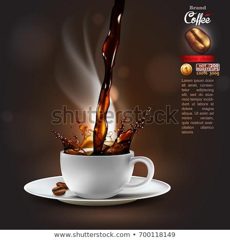 estate · Cup · caffè · bianco · tavolo · in · legno · acqua - foto d'archivio © choreograph