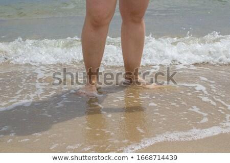 Túlsúlyos nő tengerpart kezek magasban áll nők Stock fotó © Mikko