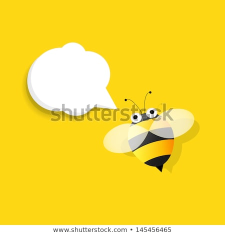 Cartoon bee with speech bubble Stock photo © Nobilior