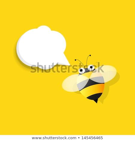 grappig · bee · zwarte · vliegen · witte - stockfoto © nobilior