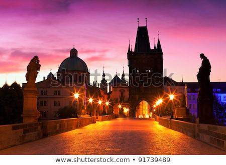 Pont aube Prague République tchèque bâtiment lampe Photo stock © phbcz