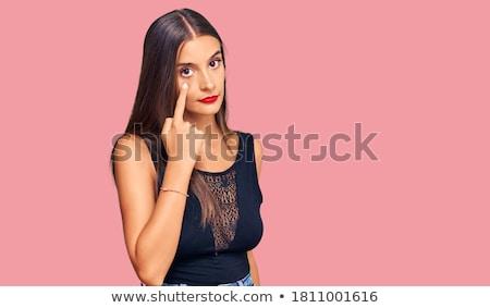 ストックフォト: 怒っ · 若い女性 · ポインティング · 目 · 少女 · セクシー