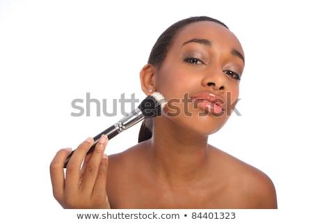 afroamerikai · nő · szempilla · ecset · gyönyörű · fiatal - stock fotó © darrinhenry