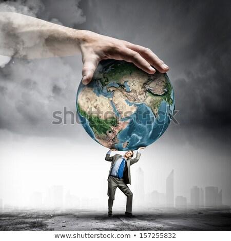világ · vállak · fotó · üzletember · nagy · földgömb - stock fotó © RTimages