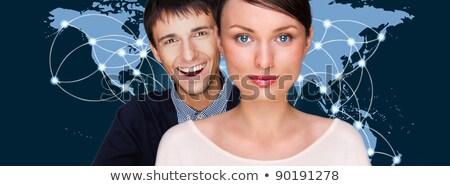 Zdjęcia stock: Przystojny · przyjazny · para · futurystyczny · interfejs · stałego