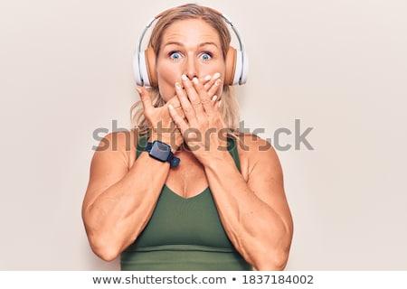 tímido · mulher · fones · de · ouvido · branco · música · rocha - foto stock © Rob_Stark