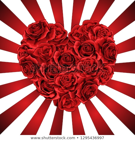 art valentines greeting card with red roses and red heart on dar stock photo © konstanttin