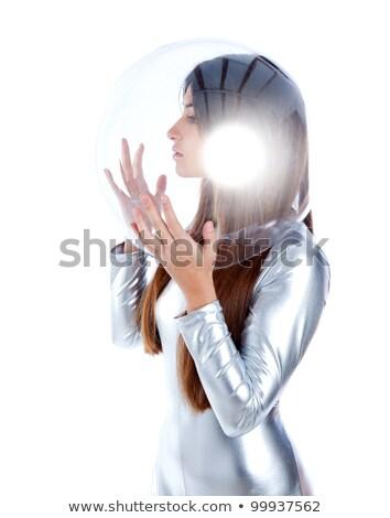 barna · hajú · futurisztikus · ezüst · nő · profil · üveg - stock fotó © lunamarina