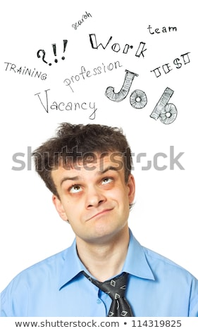 A portrait of a young comic businessman lost in thoughts Stock photo © vlad_star