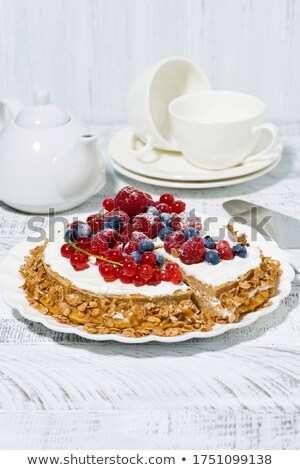Closeup of delicious fresh berry cake garnished Stock photo © ozaiachin