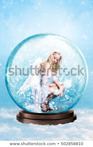 Stockfoto: Eenzaam · engel · sneeuwvlokken · foto · meisje · witte
