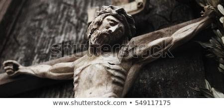 Eski heykel İsa yalıtılmış beyaz imzalamak Stok fotoğraf © Taigi