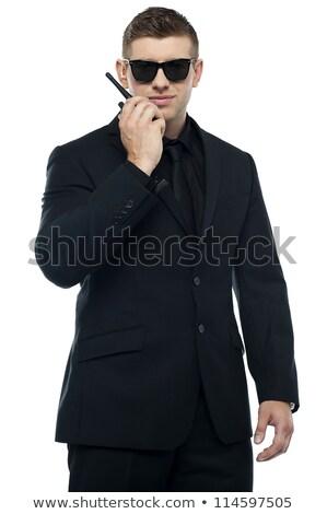 Halve lengte portret jonge oprecht veiligheid officier Stockfoto © stockyimages