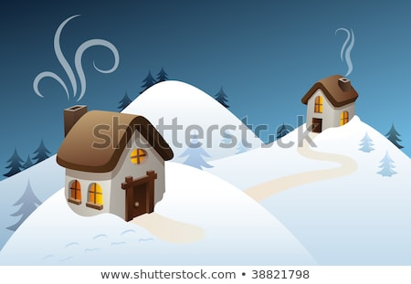 montanha · cena · ilustração · neve · verde · inverno - foto stock © zzve