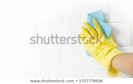 Tile Work - Wiping Grout Stock photo © lisafx
